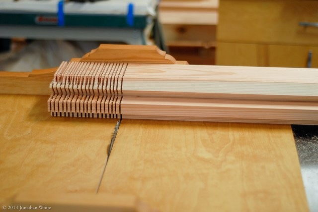 Using the same blade height, align the blade carefully in the kerf of the shoulder cut.