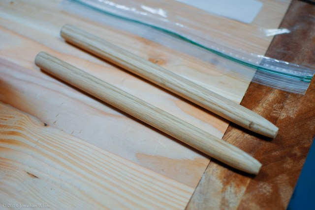 The first two pegs ready to be used.