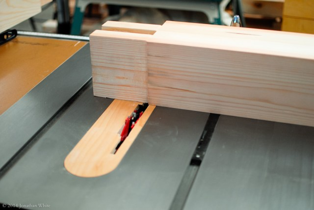 I used a stacked dado head in my tablesaw to take 1/4 inch off each side of the tenons.