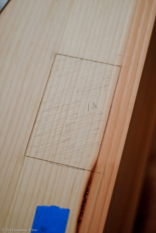 The mortise laid out with a knife and darkened with pencil.
