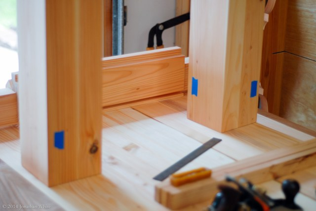 I used blue tape to mark which faces need a mortise.