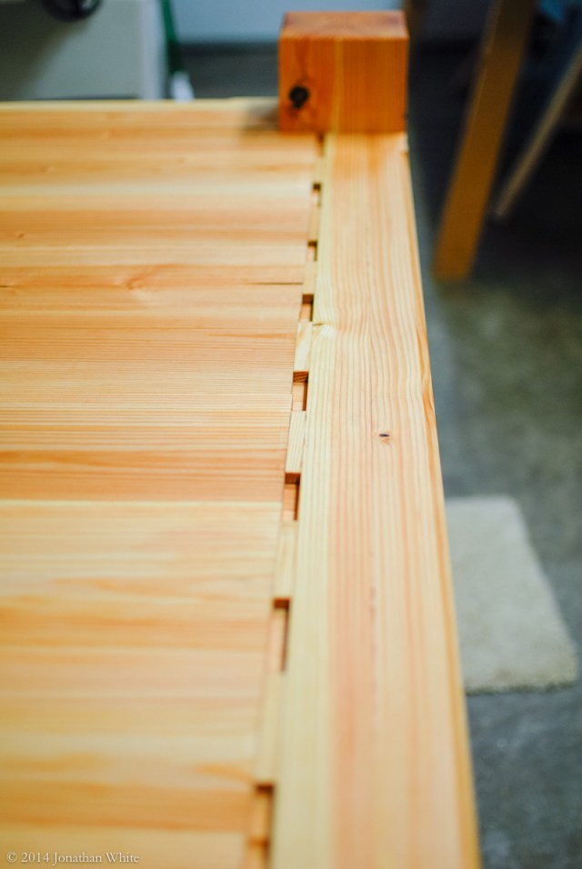 These wedge blocks stop the tongue and groove bottom from shifting.