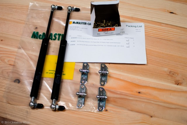 The gas springs and mounting brackets that I ordered from McMaster-Carr.