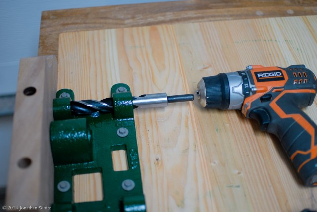 First problem! The drill bit is too close to the benchtop to attach the drill.