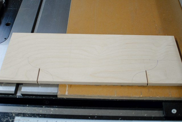 I cut the shoulders of the transition vertically at the table saw.