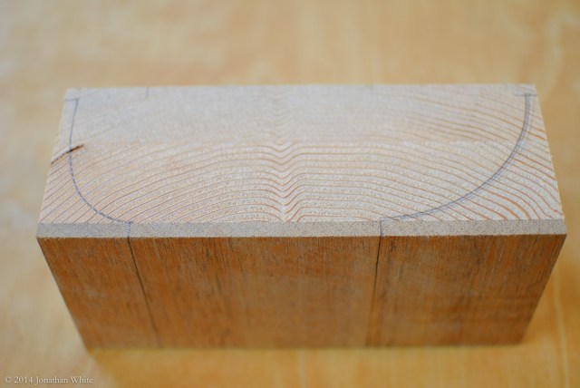 I drew two sample edge profiles on a scrap off-cut.