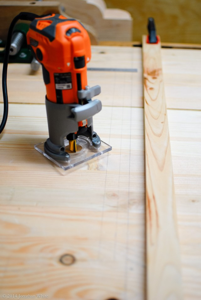 I switched to my smaller trim router.