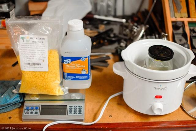 Cooking up a wax mix.