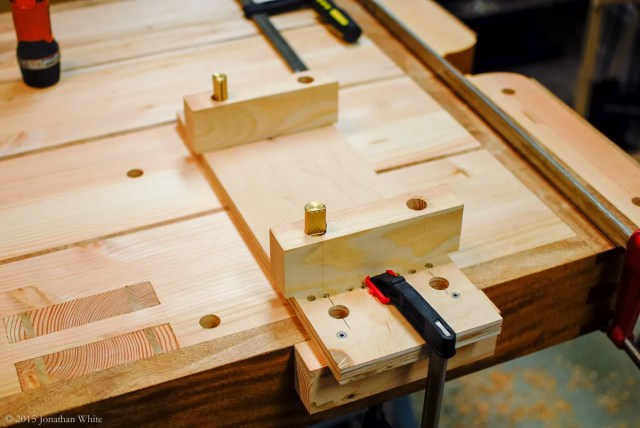 I built this jig to drill the holes in the benchtop.