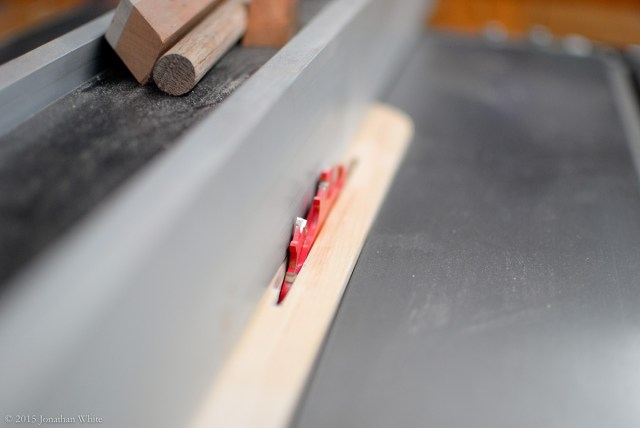 I installed the outer two blades of my stacked dado head in my table saw.