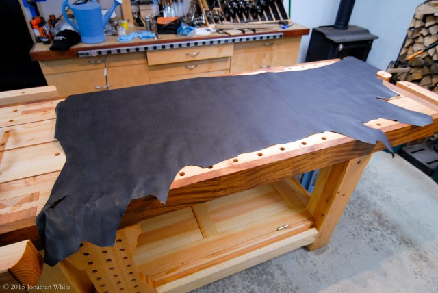 A half hide of bookbinders leather.