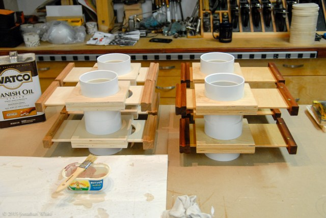 Half of the blast gates finished. You can see how the Danish Oil adds a warm richness to the Sapele.