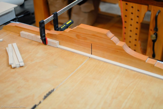 The 5/8-inch wide strips were cut to 6 11/16-inches long.