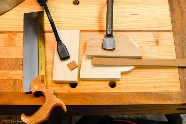 I haven't made a bench hook yet, so I cobbled together a quick saw guide.