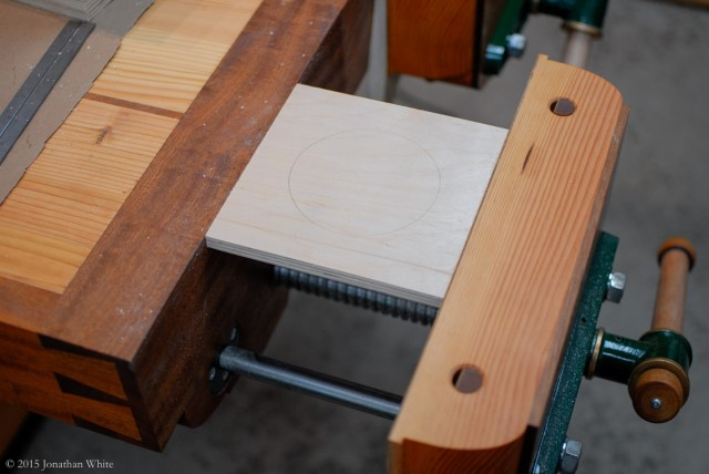 I clamped the plywood blank in my vise.