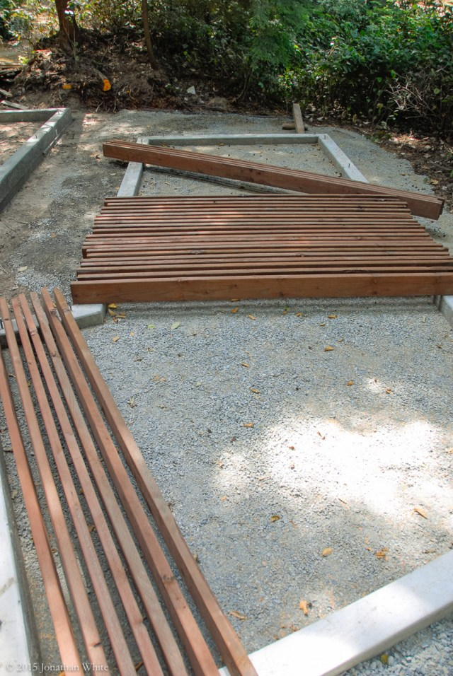 All the pressure treated lumber that I will need to build the floor of both structures.