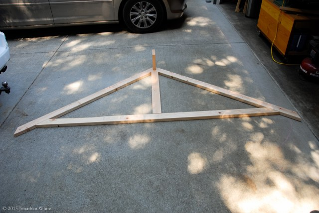 Laying out the pieces for my prototype roof truss.