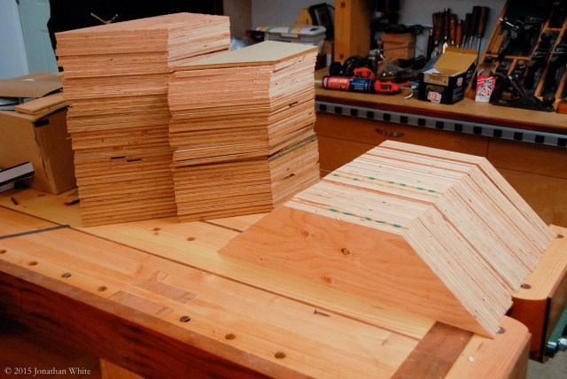 Plywood gusset plates for joining the truss parts together.