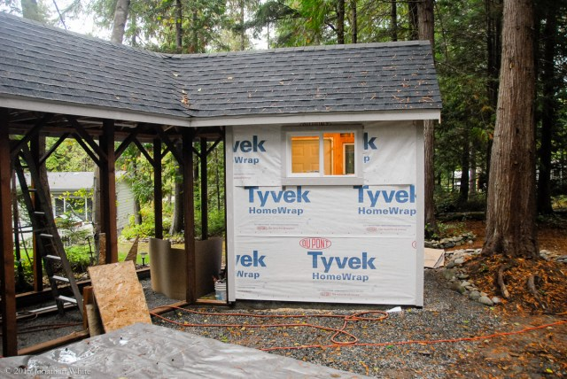 The whole hen house was wrapped in Tyvek.