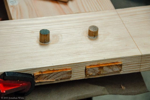 """I drilled and pegged the mortise and tenon joints with a 5/8"""" oak dowel."""