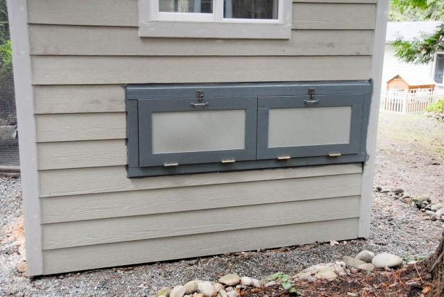 The nesting box doors.