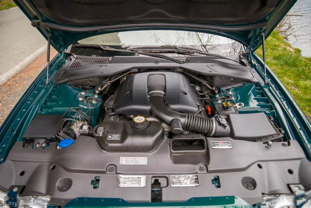 The engine compartment.