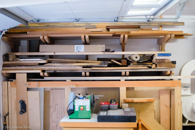 My very messy lumber storage rack.