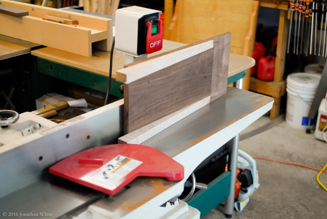 Squaring up the edge that goes against the track at the jointer.