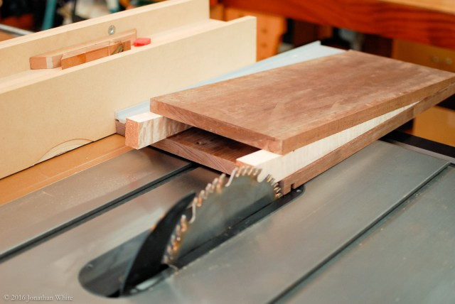 Flush cutting the off side at the table saw.