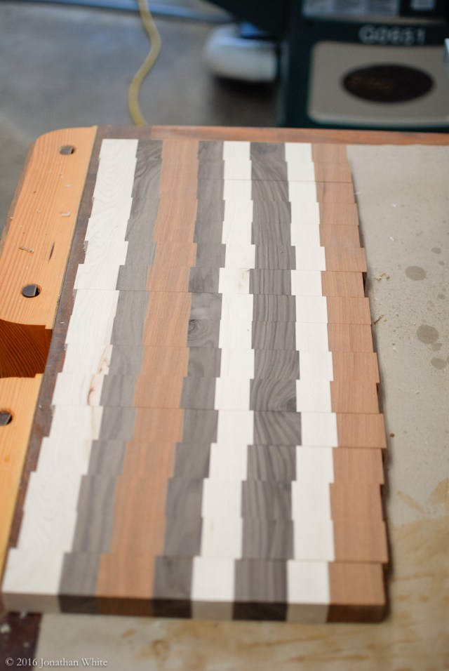 I had made some extra strips in the early stages, so glued them up to make a second board. This one has a different pattern.