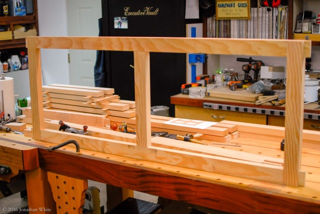 Dry fitting the first frame.