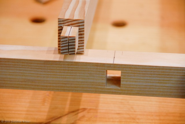 I chopped the mortises and kerfed the tenons.