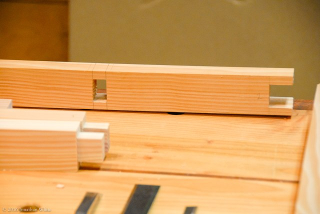 I used the same wedged mortise and tenon joinery for the cross rails.