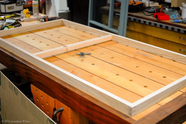 The drawer frame ready for the bottom to be nailed on.