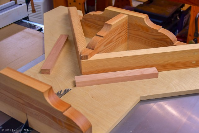 Mitering the corners on the miter sled.