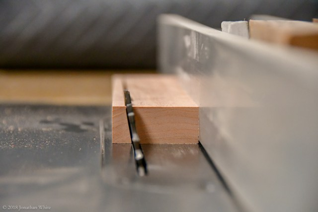 A 10° angle cut at the table saw.