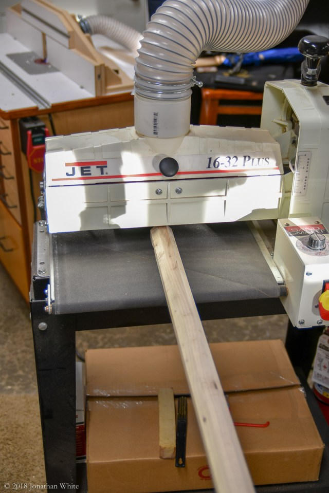 To sneak up a good octagon, I switched to the drum sander.