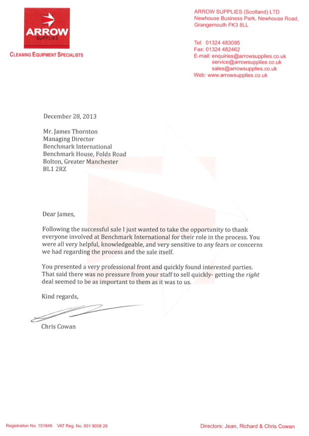 Letter of Testimony – Arrow Supplies | Benchmark International