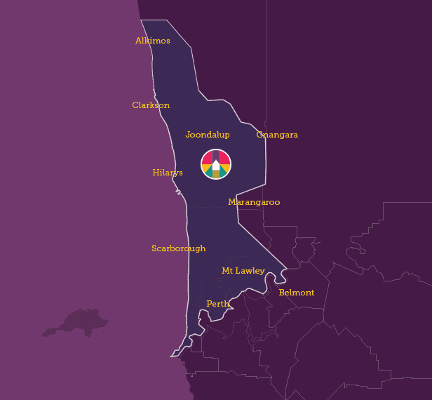 map of suburbs in Perth, north of the river
