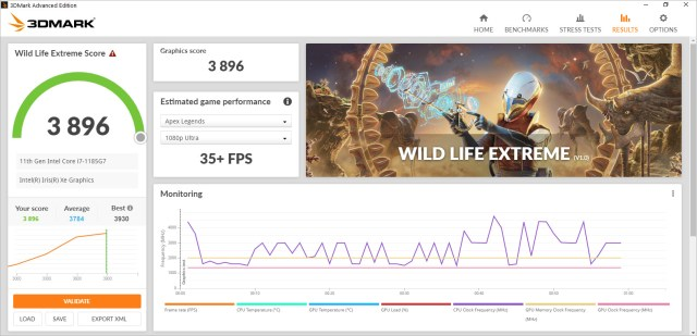 3DMark Wild Life Extreme benchmark result screen