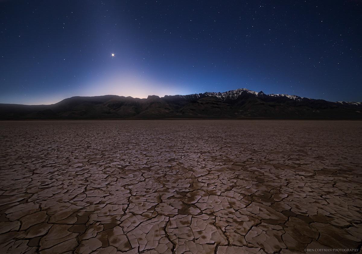 Zodiacal light shines over the playa of the Alvord Desert in eastern Oregon.