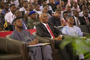 l-r: Nigeria's Vice President, Prof. Yemi Osinbajo, Founder, Tony Elumelu Foundation Mr. Tony Elumelu and Kaduna State Governor, Mallam Nasir El-Rufai at the $100 Million Tony Elumelu Entrepreneurship Programme (TEEP) boot camp for 1000 entrepreneurs from 51 countries across Africa, Ota, Ogun State, on Saturday July 11, 2015