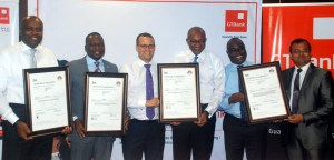 L-R: Wale Oyedeji, Executive Director, GTBank; Afolabi Oke, Executive Director, Global Infoswift; Chris Maskell, Director, UK Trade and Investment, British High Commission, Lagos; Ohis Ohiwerei, Executive Director, GTBank; Demola Odeyemi, Executive Director, GTBank and Bharat Soni, Chief Information Security Officer, GTBank during the presentation of Four ISO Certifications to GTBank by British Standard Institute in Lagos on Tuesday.