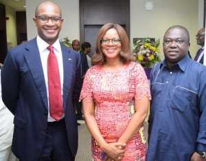 Pix 8152: From left: The Group Managing Director/Chief Executive of First City Monument Bank (FCMB), Mr. Ladi Balogun; the Publisher of TW Magazine, Mrs. Adesuwa Onyenokwe and the Chairman/Chief Executive of Brila FM, Dr. Larry Izamoje, during a media parley/workshop organised for Online Journalists by the Bank. The event took place on September 29, 2015 in Lagos.