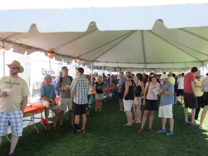 Breweries giving out beer samples in the tents