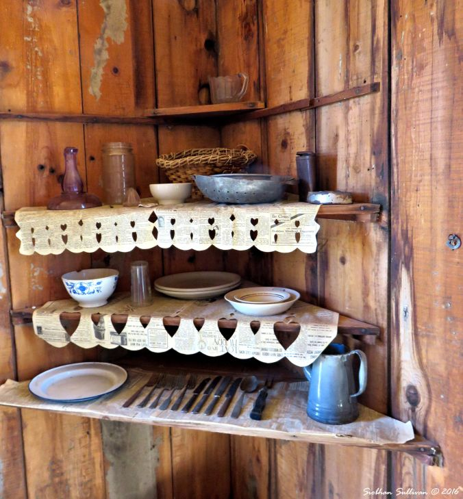 Pioneer shelf at Fort Rock Valley Historical Homestead Museum 13 June 2016