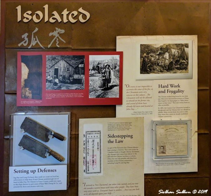 Note the meat cleavers. Visitor center display about the isolation of Chinese in John Day, OR 26October2018
