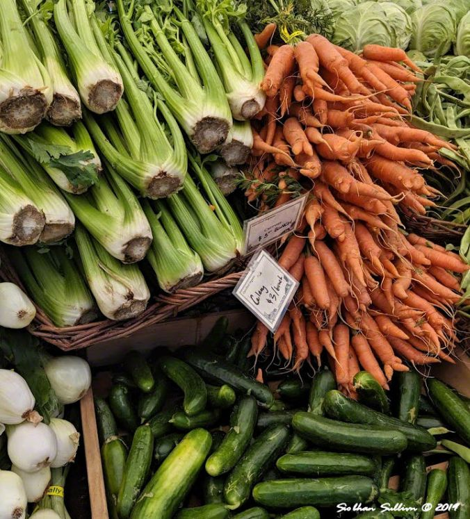 Summer's bounty, Vegetables at a farmer's market in Bend, Oregon 19 June 2019