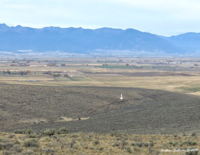 The white arrow points to the Trail location, Baker City, Oregon 24October2018