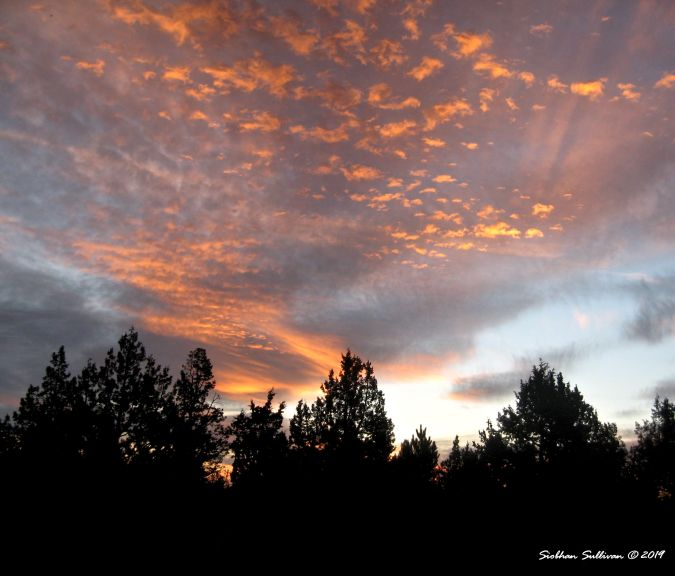 Orange clouds in sunrise over Bend, Oregon 12October2014